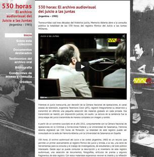 """""""530 horas: El archivo audiovisual del juicio a las juntas"""" es un micrositio realizado en wordpress, con formato de una sola página para evitar que navegar por el sitio sea engorroso."""