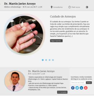 Realización de sitio web para el doctor Martín Javier Arroyo con creación de plantilla propia en Wordpress, con HTML 5 y Ajax.